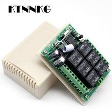 مفتاح استقبال لاسلكي KTNNKG تيار مستمر 12 فولت 6CH للتحكم عن بعد بمفتاح ضوء 433 ميجاهرتز مع 6 أزرار جهاز إرسال RF شحن مباشر