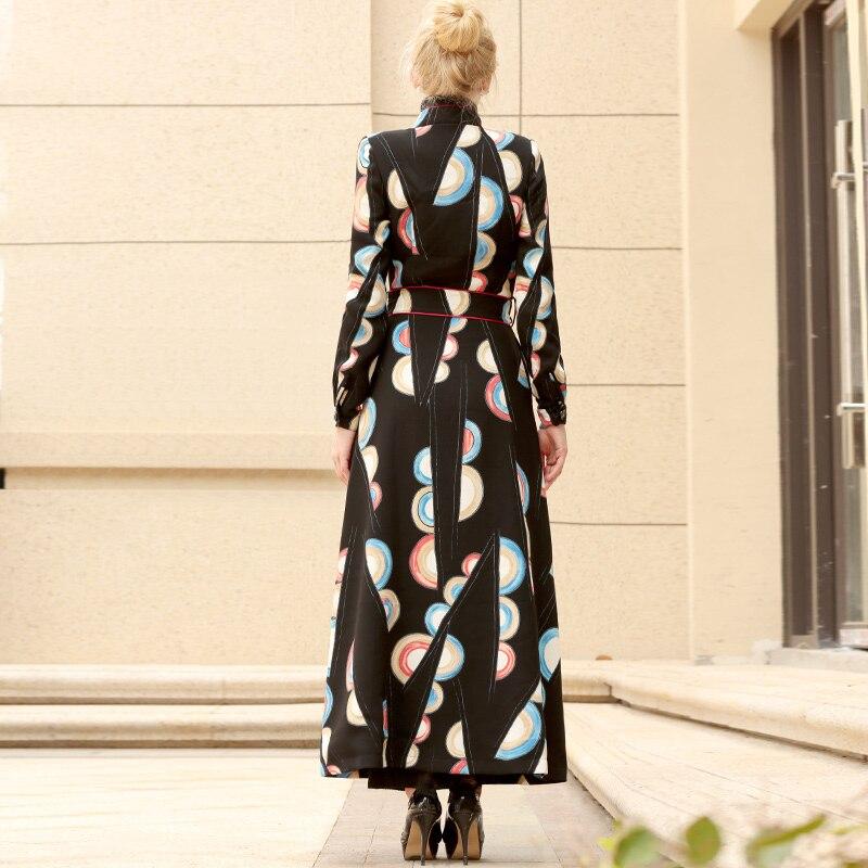 Lady Long Manteau Avec Femme Unique 6490 Hiver Mode Imprimé De Automne Femmes Pardessus Ol Ceinture Poitrine Style 7q0YqSw