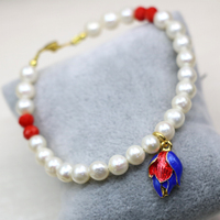 Wholesale price natural 7-8mm white pearl approx round beads strand beaded bracelets & bangle clasp diy jewelry 7.5inch B2991