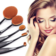 Black Makeup Brushes Oval Make Up Brushes 5 Pieces Professional Oval Brush Set Face Powder Cosmetic Makeup Brush Tools #84259
