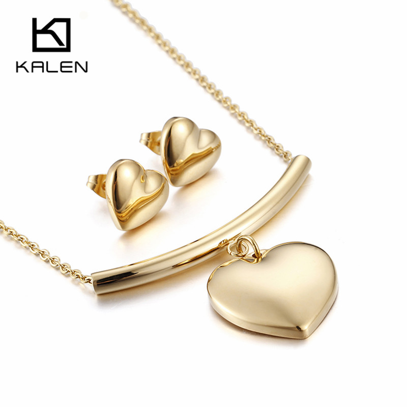 Jewelry & Accessories Kalen Minimalist Heart Pendant Necklace Earrings Set For Women Engagement Accessories Peru Gold Color Fashion Jewelry Sets 2018 Jewelry Sets & More