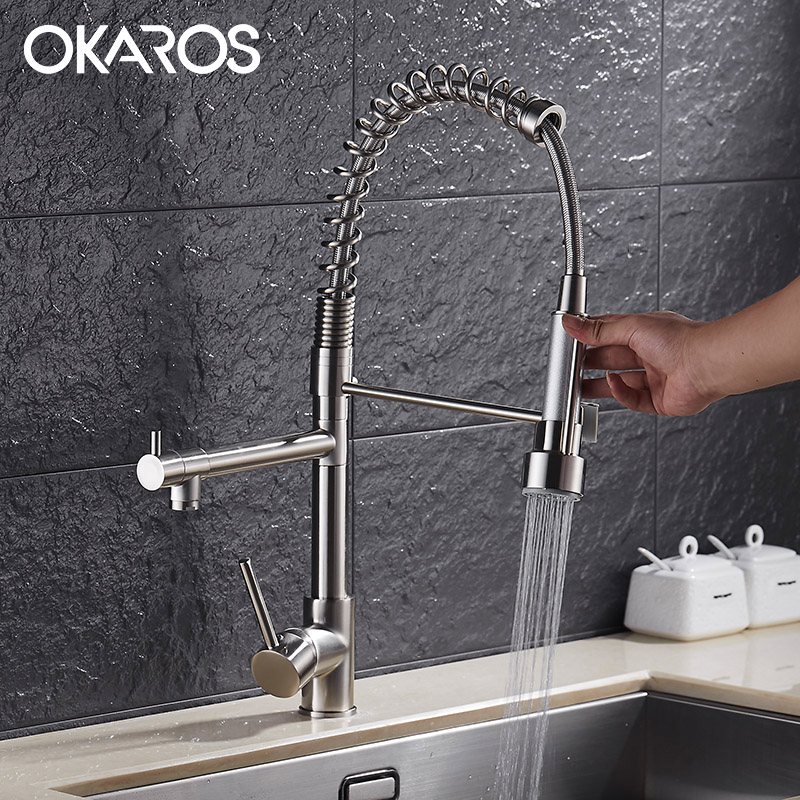 OKAROS Kitchen Faucet Pull Out Up&Down Dual Sprayer Chrome Brass Swivel Vessel Sink Tap Mixer Single Handle Hot&Cold Cozinha good quality wholesale and retail chrome finished pull out spring kitchen faucet swivel spout vessel sink mixer tap lk 9907