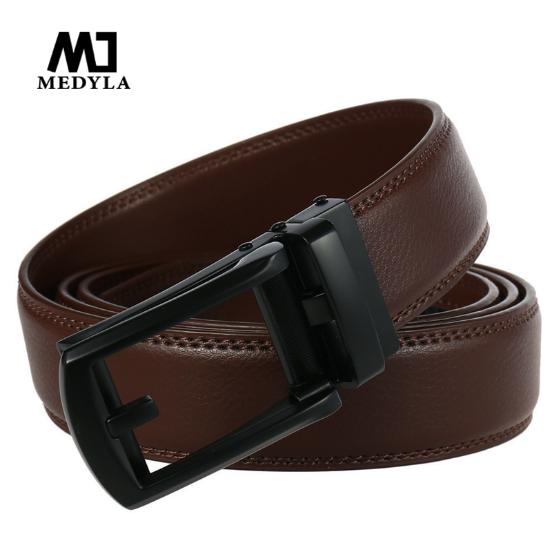 Medyla Luxury Brand Male Genuine Leather Strap Belts For Men Top Quality Belt Automatic Buckle Black Coffee Belts Cummerbunds