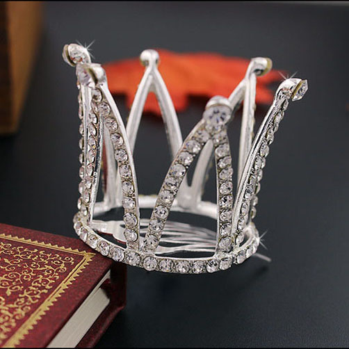 Små piger Crown Tiara Hair Combs Clear Stone Crystal Mini Tiara Hår - Mode smykker - Foto 4