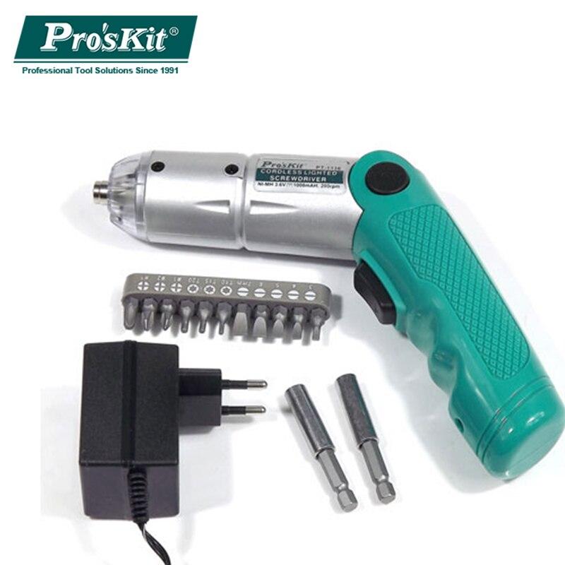 Pro'skit PT-1136G 3.6 v Sans Fil Pliable Mini Rechargeable Électrique Tournevis