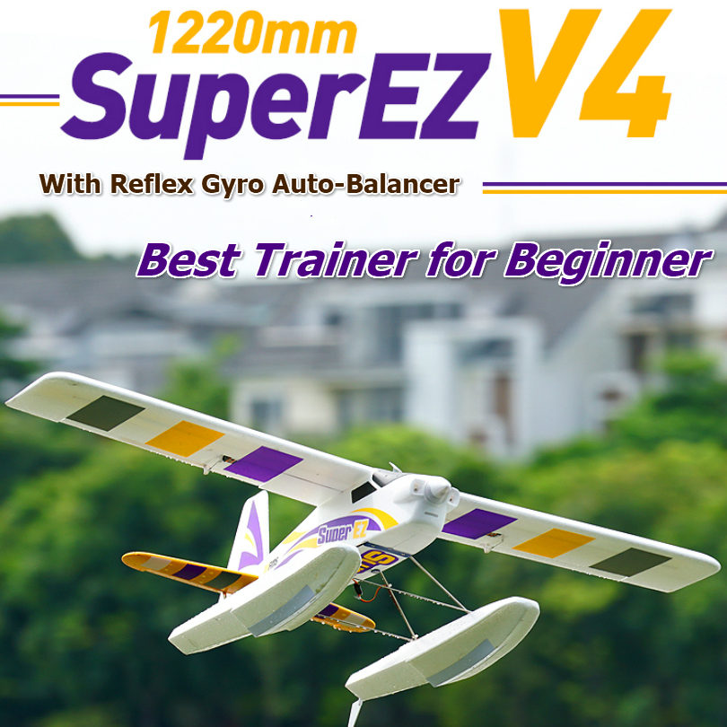 FMS 1220mm Super EZ V4 Trainer Beginner RC Airplane with Gyro 4CH 3S Floats optional PNP