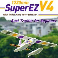 FMS 1220mm Super EZ V4 Trainer Anfänger RC Flugzeug mit Gyro 4CH 3S Schwimmt optional PNP Wasser Meer flugzeug Hobby Modell Flugzeug