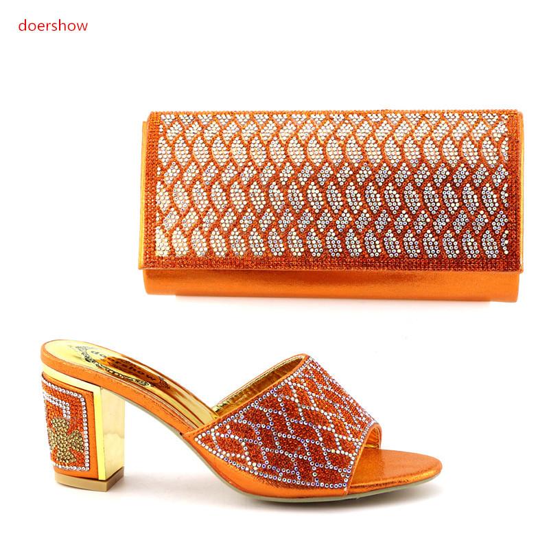 doershow Italian Shoes With Matching Bags Rhinestone High Quality shoes and bag set to match for party!IO1-6 doershow italian shoes with matching bags for party shoes and bags to match set high quality lady matching shoes and bag hzo1 10