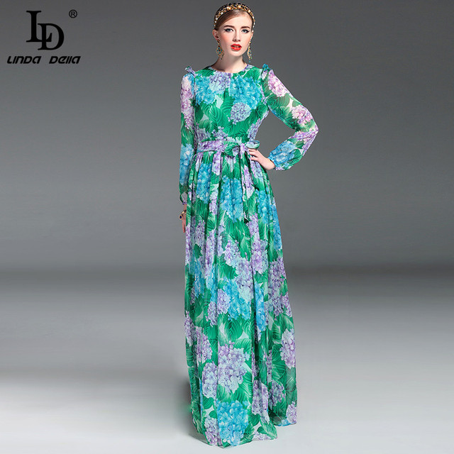 High Quality 2017 Summer Runway Maxi Dress Women's Long Sleeve Floor Length Boho Beach Party Floral Printed Casual Long Dress