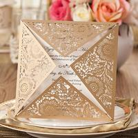 50pcs/pack Universal Wedding Christmas Party Invitations Laser Cut Invitation Cards With Insert Paper Blank Card Envelope