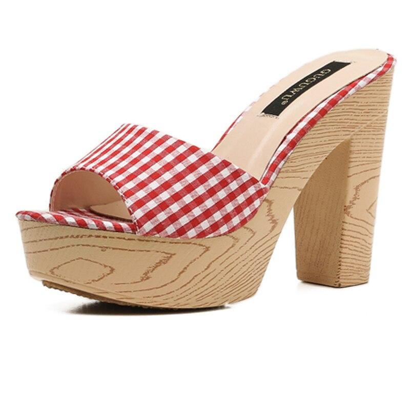 b93144efefd Ladies Casual Sandal 11cm High Heel Flip Flops Red Women Platform Sandals  Summer Yellow High Heels Slippers Sandale Femme-in High Heels from Shoes on  ...
