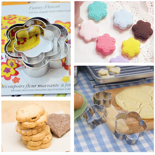 3pcs/Set Stainless Steel Chocolate Chip Cookies  Flower Cookie Cutter  Fondant Biscuit Cutter