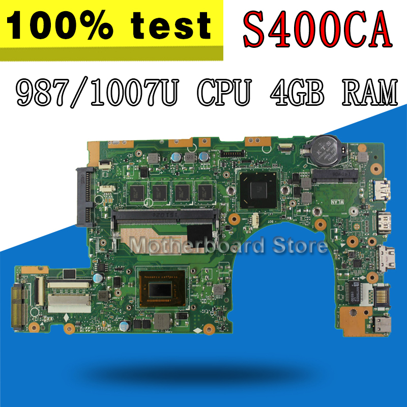S400CA <font><b>Motherboard</b></font> 987 / 1007 CPU 4GB RAM For <font><b>ASUS</b></font> <font><b>S400C</b></font> S500CA Laptop <font><b>motherboard</b></font> S400CA Mainboard S400CA <font><b>Motherboard</b></font> test OK image