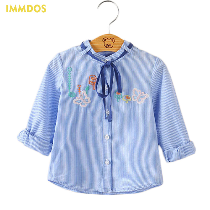 Fashion 2017 IMMDOS Baby Girls Top Shirt Autumn Kids Child Clothing Cotton Children Long Sleeve Blouses Butterfly Embroidery raglan sleeve embroidery sheer top