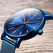 цена erkek saat 2019 LIGE Mens Watches Top Brand Luxury Casual Watch Men Watch For Men Sport Blue Wristwatches Relogio Masculino+Box онлайн в 2017 году