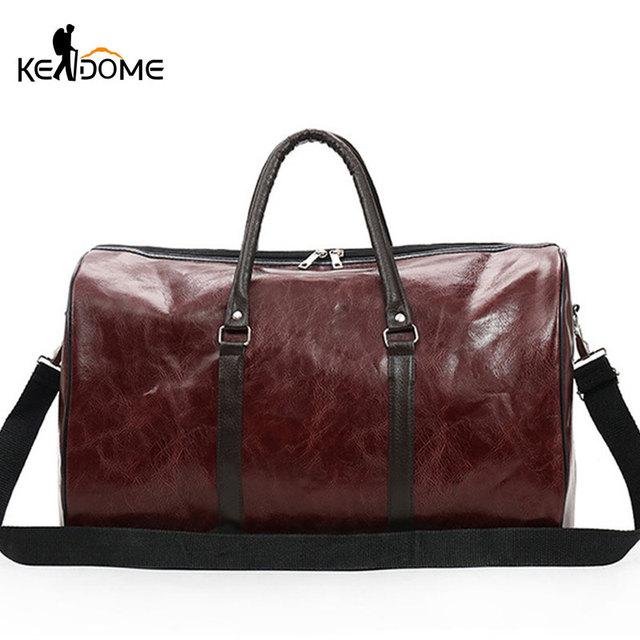 f66fb051eeae PU Leather Gym Bags Large Capacity Travel Bag Stylish Women Handbag Men  Training Duffel Bags Fitness