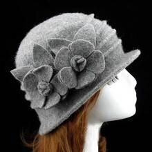 6pcs lot Fine Wool Bucket Hat for Women Spring Fall Floral Cloche Caps  Ladies Winter 15eb430b41f3