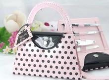 Envío gratis + Best Selling nupcial ducha Favor y Pink Polka Dot Purse pedicura Kit de manicura Favors + 80 set/lote
