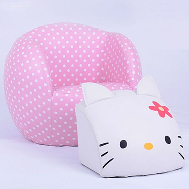 Round Hello Kitty Chair Set Kids Sofa With Ottoman Children Sofa Footstool  Baby Furniture