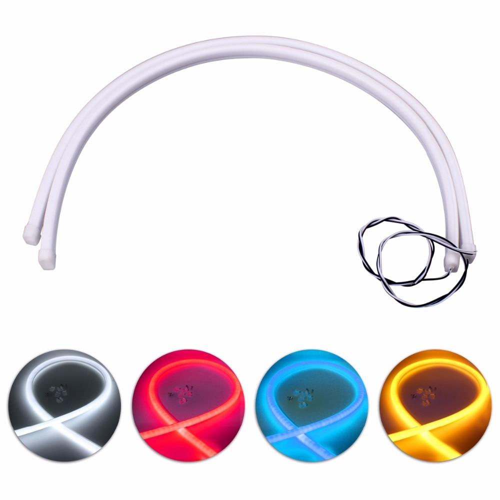 2ks 60cm denní svícení univerzální flexibilní měkká trubice průvodce auto tuning LED pásek DRL směrová světla světle modrá červená bílá