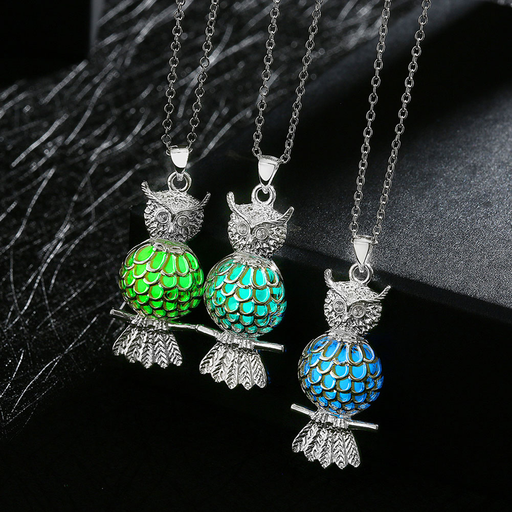 2017 Fashion Silver Plated Chain Statement Night Necklaces Phosphors Owl Glowing In The  ...