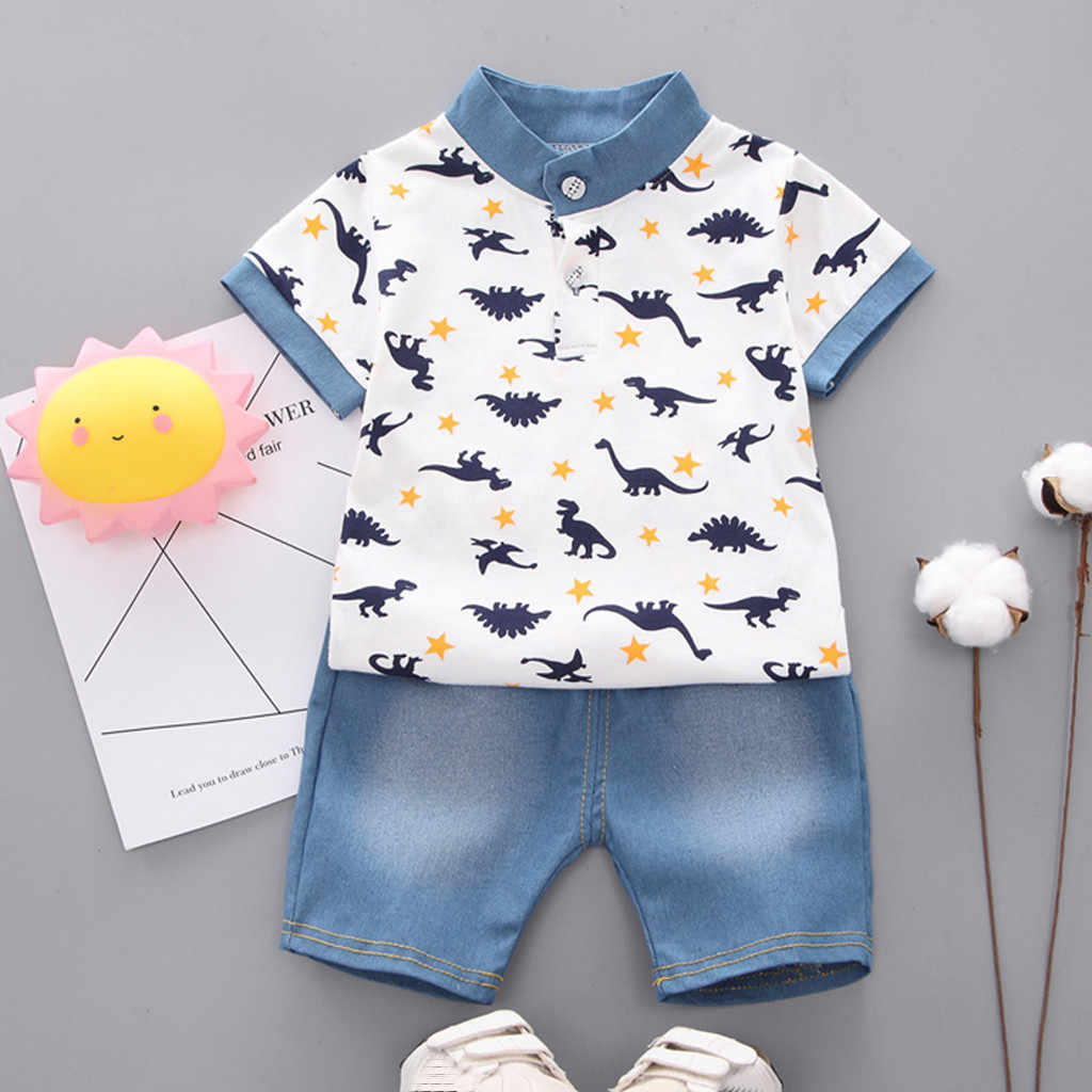 Kids Clothes Boy Dinosaur T Shirt Tops+ Denim Shorts Pants 2pcs Clothes Set Roupas Infantis ropa nina Boys Summer Clothes