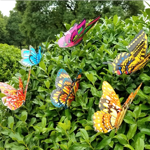 SOLEDI Butterfly Garden Decor Lawn Decoration 3D Garden Art Flowerpot  Lifelike Beautiful Plastic Color Random Creative