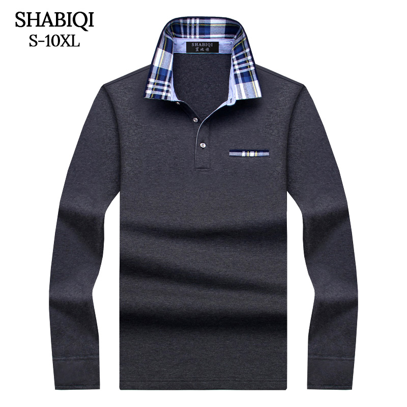 SHABIQI Casual cotton Men   Polo   Shirt Mens Long Sleeve Solid   Polo   Shirts Camisa   Polos   Tops Tees Plus size 6XL 7XL 8XL 9XL 10XL