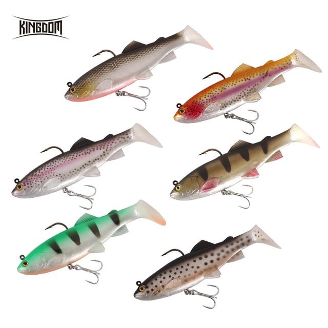 Kingdom 2019 New Crazy Trout Soft Baits 1pc 120mm 38g Lead Head PVC Soft Lure Swimbaits Good Sensitive T-Tail Fishing Lures 4