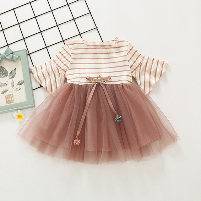 701073184 Toddler Girl Dress Kids Party Dresses Girls Children Princess Costume Baby  Girl 1 2 3 Year Lace Striped Cute Birthday Dress