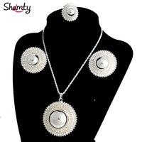 Shamty/большие размеры; комплекты ювелирных изделий для невесты в африканском стиле для женщин; комплекты серебряных цветов; свадебный подаро...