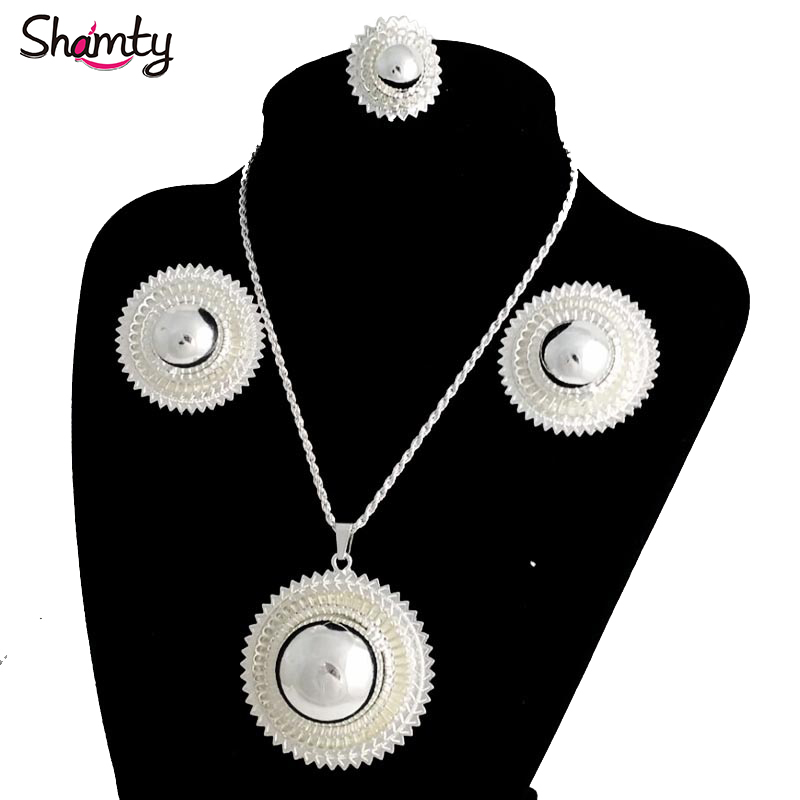 Shamty Big Size Ethiopian Bridal <font><b>Jewelry</b></font> <font><b>Sets</b></font> <font><b>For</b></font> <font><b>Women</b></font> African Silver Color <font><b>Sets</b></font> <font><b>Nigeria</b></font> Sudan Eritrea Kenya Wedding Gift image
