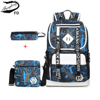 FengDong Boys School Bags Kids Backpack Child Pen Pencil Case Men Travel Bag Set Blue Grey