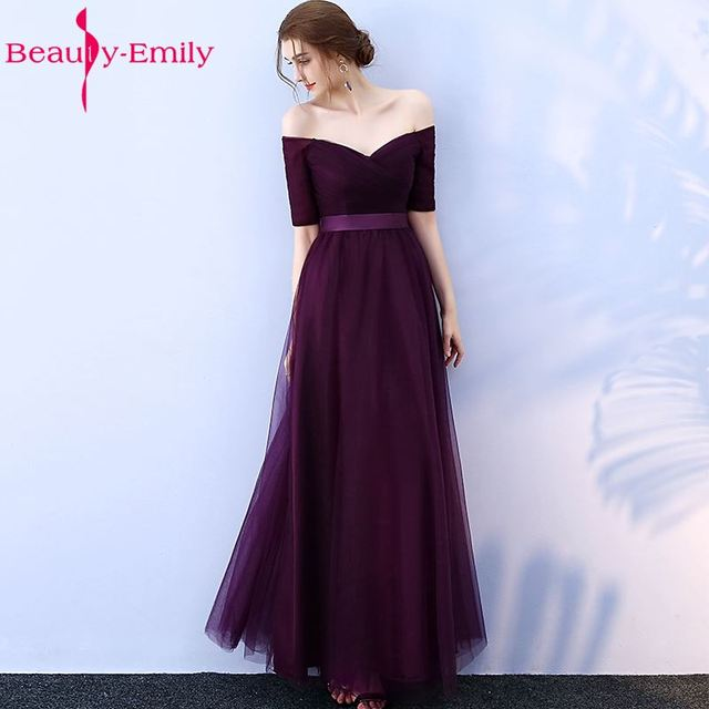 Beauty-Emily Long Purple Red Gray Cheap Bridesmaid Dresses 2018 A-Line Off the Shoulder Half Sleeve Vestido da dama de honra