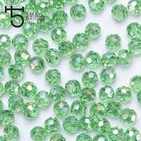 100 pçs 4mm áustria verde facetado bola contas feminino diy acessórios para jóias makging espaçador cristal contas de vidro atacado z104
