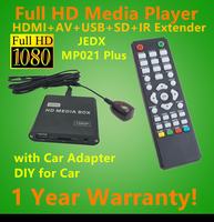 JEDX Full HD 1080P Car Media Player with IR Extender AVI DivX MKV DVD MP3 Player HDMI,AV output,SD/MMC/USB Host,Free Car adapter