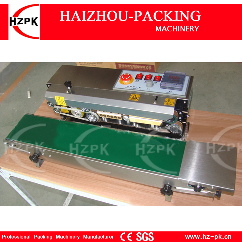 HZPK Table Type Stainless Steel Body Without Spray Continuous Plastic Film Sealing Machine With Conveyor For Food Tea Bag FR770
