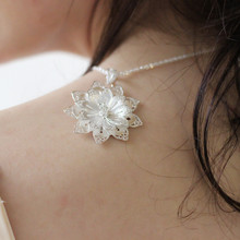 Pendant Necklace Women Flowers 999 Sterling Silver Jewelry Accessories Chinese Handmade Miao Jewellery Ethnic