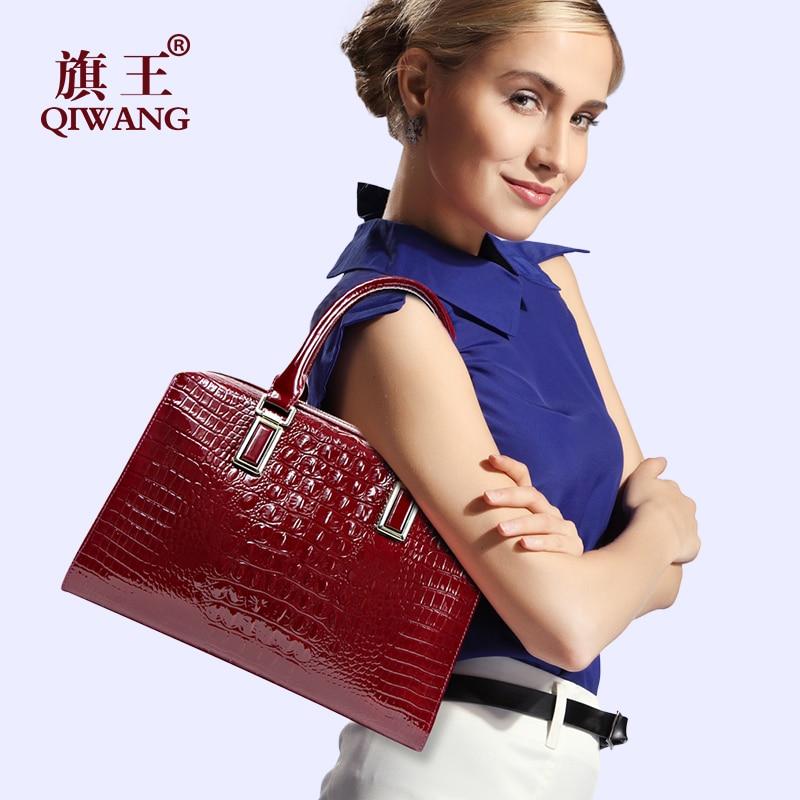 QIWANG Великолепная существенная прочная женская сумка дорогая крокодиловая кожа сумка высокого качества винная роскошная сумка винная