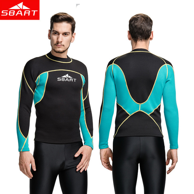SBART 2MM Wetsuit Shirt Mens Neoprene T Shirts Surfing Wetsuits Top Men Diving Swimming T-shirt Surf Long Sleeve Rashguard