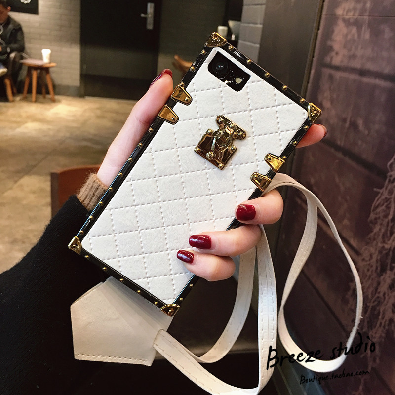 SZYHOME Phone Cases for iphone X 6 6s 7 8 Plus Vintage Luxury PU Leather Fashion Square Lattice Phone Back Cover Accessories ...