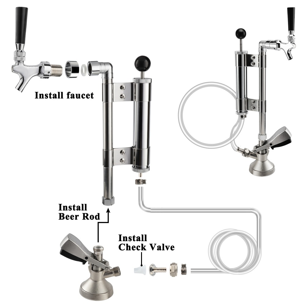 PERA Brand D Type 4 inch Draft Beer Party Pump with Picnic Tap Homebrewing Beer Keg Party Pump