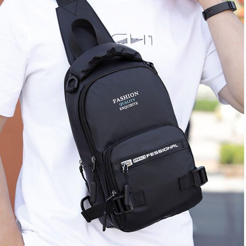 Image 4 - Нейлоновая военная сумка через плечо, мужская сумка на ремне, зарядка через USB интерфейс, повседневный модный мужской рюкзак на одно плечо-in Рюкзаки from Багаж и сумки