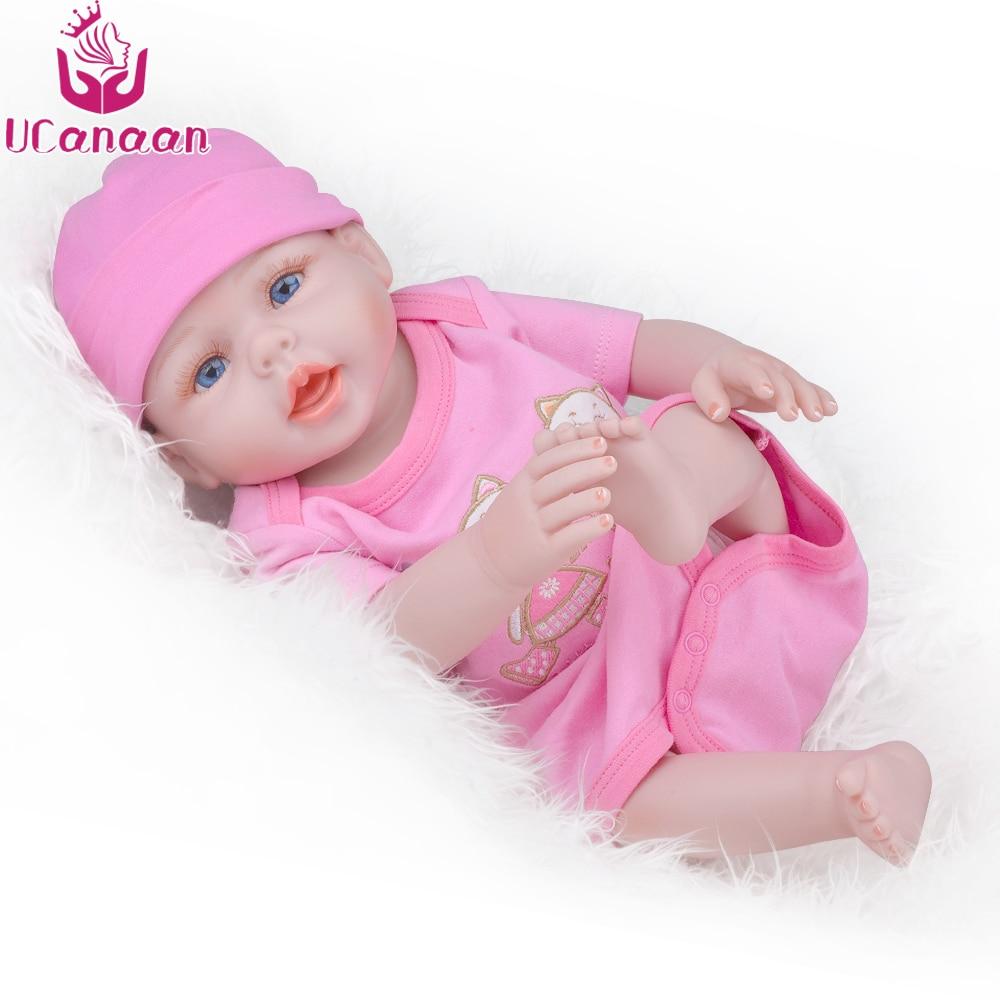 UCanaan 20 ''50 cm Reborn Baby Dolls Vinyle Full Body Réaliste Jouets Pour Enfants Playmate Bébé Nouveau-Né Bonecas Fille cadeau d'anniversaire