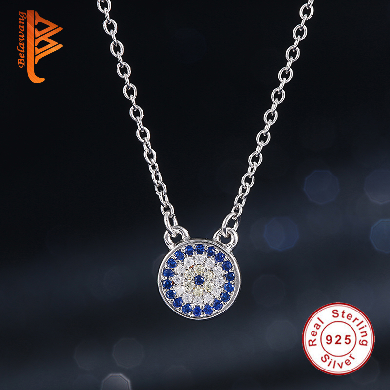 925 Sterling Silver Sapphire Created CUBIC ZIRCONIA Crystal CLOCK EYE Pendant Necklace for Women Long Chain