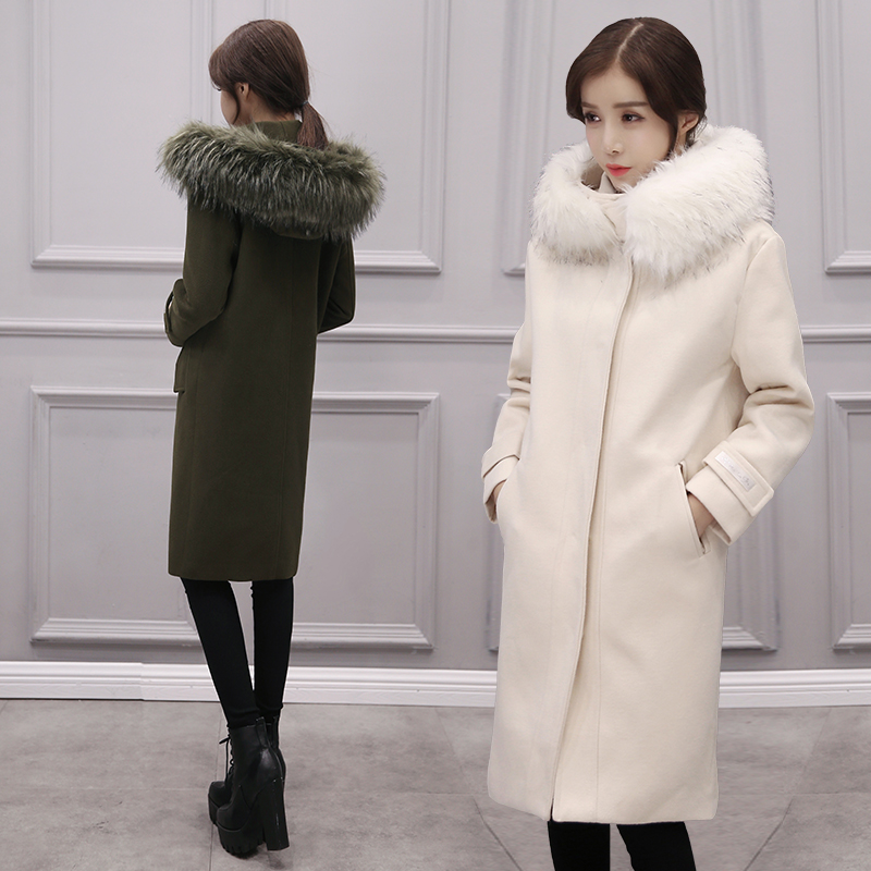 Autumn and winter 2018 new coat winter thick long knee girl Korean version of the tide coat long woolen jacket jacket cotton al ko hwa 1300 f