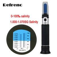 Frete grátis CE Hand held Salinidade 0-10% (1.000-1.070sg) aquário Refratômetro salinidade refratômetro RHS-10ATC