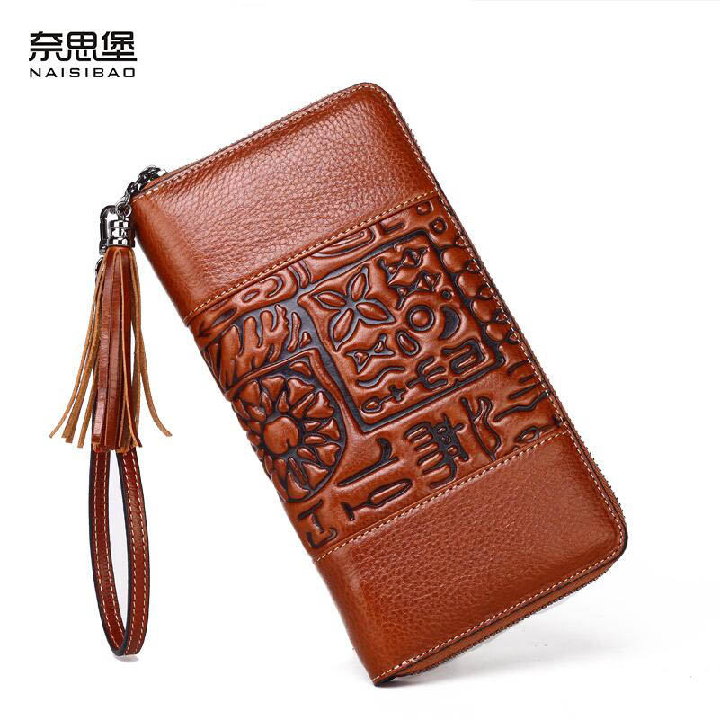 ФОТО 2016 New genuine leather bag women wallets brands top quality fashion women purse retro chinese style embossing long wallets