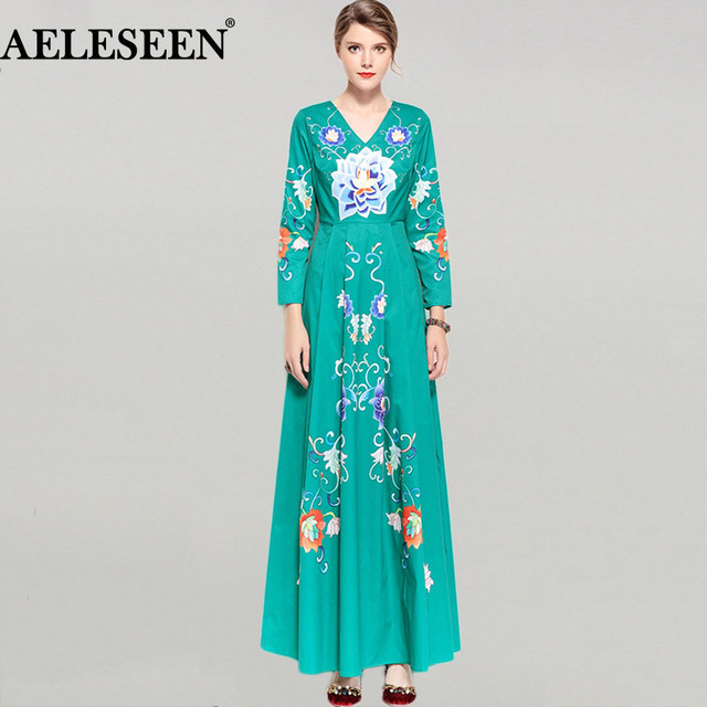 Elegant Runway Women Long Dresses Spring Full Sleeve High Quality Beautiful  Print 2018 V-neck a706526e6a8b