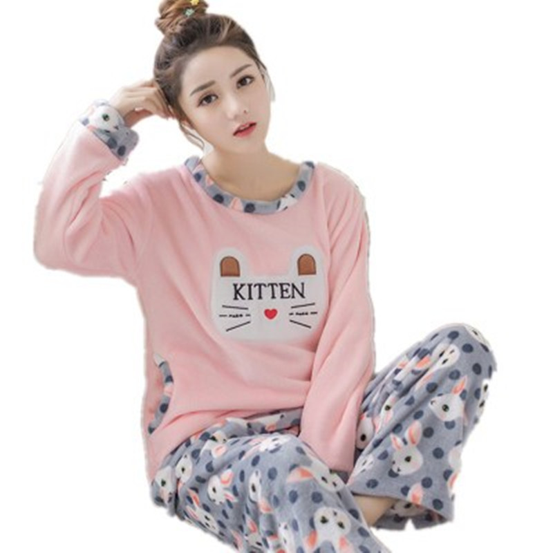 Cute Cat Flannel Warm Sexy   Pajamas     Set   Polyester Full Trousers Lady Two Piece Print Pyjama Home Sleepwear Woman Clothes